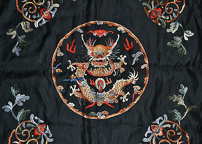 Antique Chinese Black Silk Embroidery Dragon Panel Border Textile