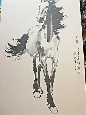 "1958 Xu Beihon Ink Painting Horse Chinese Art Framed Signed 30"" Watercolor Print"