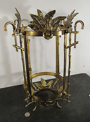 "Antique vtg solid brass Victorian ""Oriental"" bamboo motif lantern light fixture"
