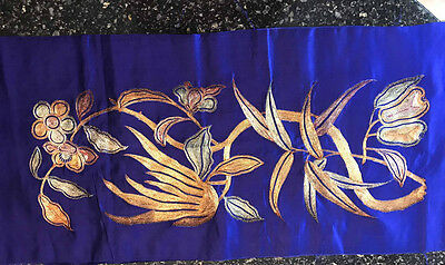 Chinese 19th Century Golden Silver Coloured Metallic embroidery Purple Blue Silk