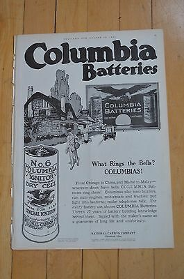 1916 Columbia Batteries Ad Featuring No 6 Columbia Ignitor Dry Cell For Ignition