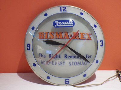 Vtg Rexall Drug Bisma-Rex Bubble Clock Lighted Advertising Products 15 inch