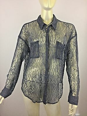 Free People Gray Sheer Lace Long Sleeve Button Down Shirt Blouse Size Large