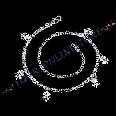 Stunning 925 Sterling Silver Plated Double Chain Floating Flower Anklet