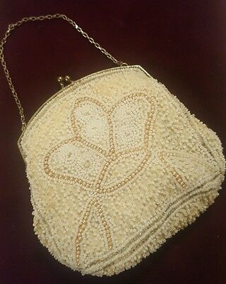 Vintage Hand Beaded coin/Purse Crown Design White/Silver 1920's Estate Find