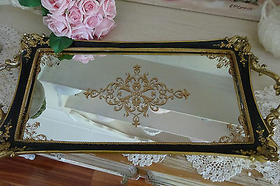 EXQUISITE GOLD BLACK MIRROR TRAY shabby French dining champagne wedding ornate