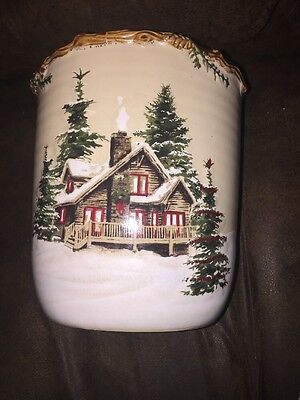"St Nicholas Square Snow Valley Cookie Jar with Lid. Approx 11 "" high and 8"" wide"
