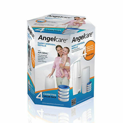Angelcare Nappy Disposal Baby Refills Cassette - 4 pack