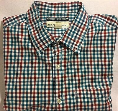 Old Navy Men's Red Checked 100% Cotton Long Sleeve Shirt Size XL