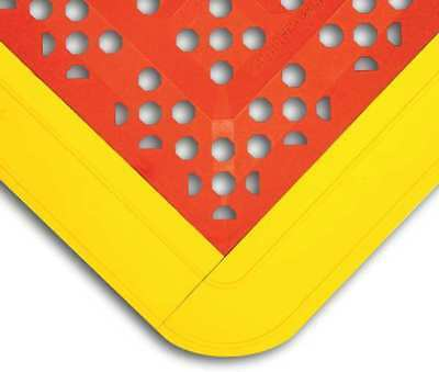 WEARWELL 546 Wet Area Mat, Red/Yellow, 42 x 27 In.