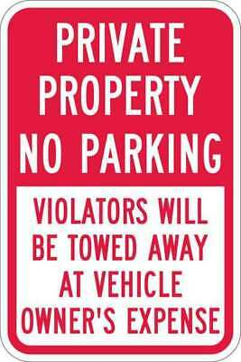 Sign,Private No Parking,18 x12 In LYLE T1-1091-HI_12x18
