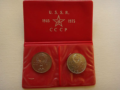 1941-1945, 2 Rare  Soviet Russia Coins,1 Rouble USSR $48