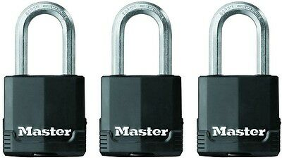3-Pack Master Lock Magnum Covered Laminated Keyed Padlock Security Shackle