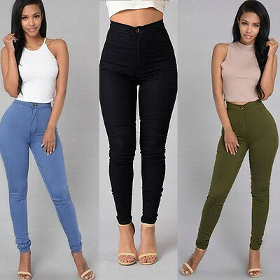 Women Denim Skinny Leggings Pants High Waist Stretch Jeans Slim Pencil Trousers