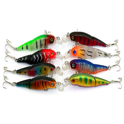 2 Section Laser Fishing Lures 3D Eyes Crank Baits Plastic Hard Lures 8.8cm/7.4g