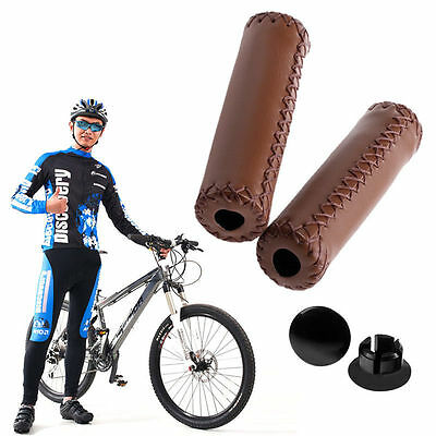 Stitched Leather BMX MTB Road Mountain Bicycle Bike Cycling Handlebar End Grips