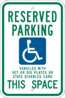 BRADY 91388 Parking Sign, 18 x 12In, GRN and BL/WHT