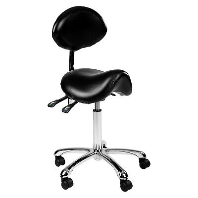 Salon Stool Saddle Chair With Backrest Adjustable Seat In Black Polyurethane New