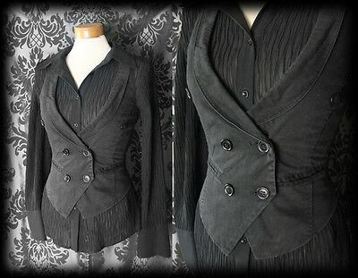 Gothic Black Double Breasted INFATUATION Corset Waistcoat 6 8 Victorian Vintage