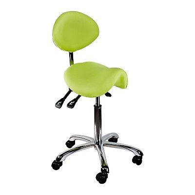 Salon Stool Saddle Chair With Backrest Adjustable Seat Light Green Polyurethane
