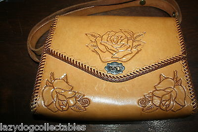 Stunning Retro Hand Tooled Leather Handbag Excellent condition