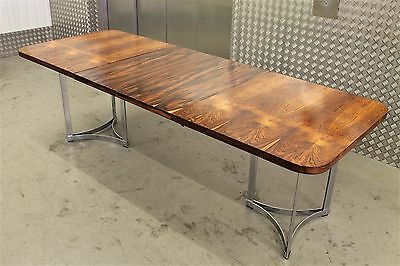 MERROW ASSOCIATES ROSEWOOD CHROME DINING TABLE VINTAGE DANISH 60s 70s NO CHAIRS