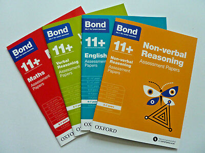 Bond 11+ plus Assessment Papers english maths reasoning 6-7 Year Pack of 4 Oxfor
