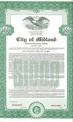 City of Midland (Michigan) $1000 1946 Water Revenue Bond - Green- With Coupons