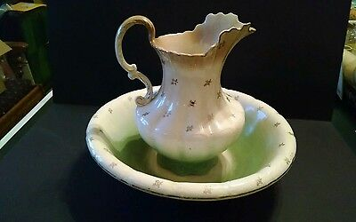 Antique GOODWIN POTTERY CO Large WASH PITCHER And BOWL, Semi-porcelain