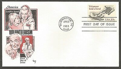 Us Fdc 1983 Volunteer Lend A Hand 20C Marg Cachet First Day Of Issue Cover