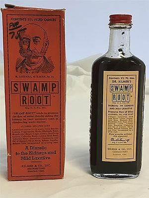 Vintage Dr. Kilmer's Swamp Root and Bladder Cure bottle with box FULL