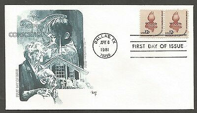 Us Fdc 1981 Freedom Of Conscience 12C Marg Cachet First Day Of Issue Cover