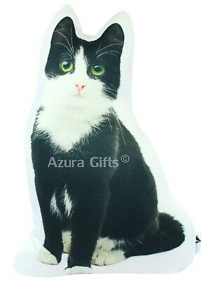 Black and White Shaped Cat Cushion By Creature Comforts Direct, Green Eyes
