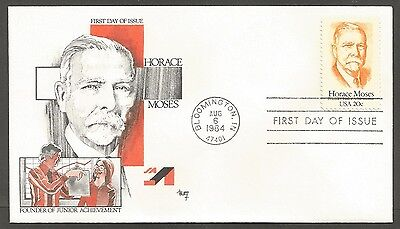Us Fdc 1984 Horace Moses 20C Stamp Marg Cachet First Day Of Issue Cover