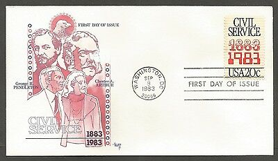 Us Fdc 1983 Civil Service 20C Stamp Marg Cachet First Day Of Issue Cover