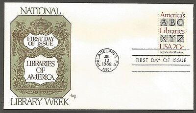 Us Fdc 1982 America's Libraries 20C Stamp Marg Cachet First Day Of Issue Cover