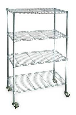 Wire Cart, 4 Shelf, Zinc,48x24x67 In. ZORO SELECT 3TPC6