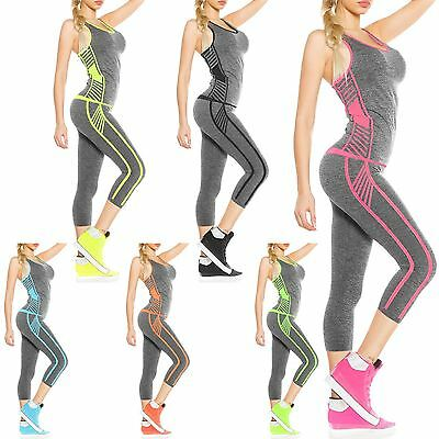 2Pc Womens Ladies Workout Fitness Tracksuit Sports Yoga Gym Vest Top Legging Set