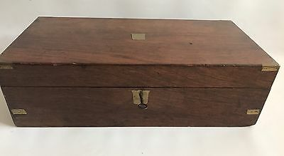Large 19th Century Military Campaign Brass Bound Mahogany Desk Box With Key
