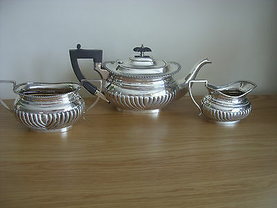 A Large And Good Quality Three Piece Solid Silve3R Tea Service Sheffield 1906