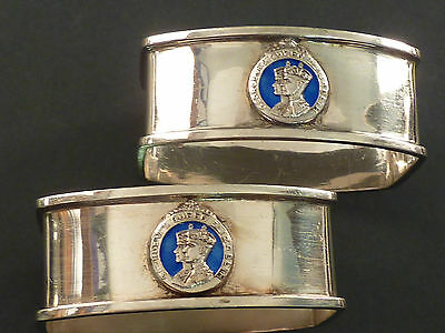 Pair Of George Vi Coronation Silver Napkin Rings