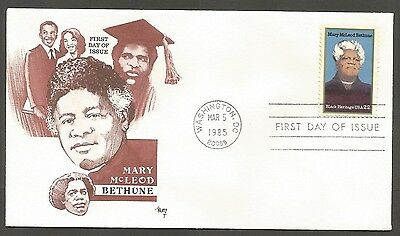 US FDC 1985 MARY McLEOD BETHUNE 22C STAMP MARG CACHET FIRST DAY OF ISSUE COVER