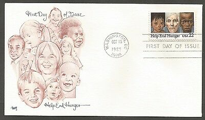 Us Fdc 1985 Help End Hunger 22C Stamp Marg Cachet First Day Of Issue Cover