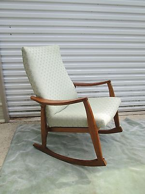 Mid Century Danish Modern OAK ~ UPHOLSTERED  ROCKING CHAIR GREYHOUND SHIP