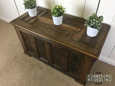 1930's Solid Oak Coffer Trunk With Carved Detail. Blanket Chest, Ottoman Chest.