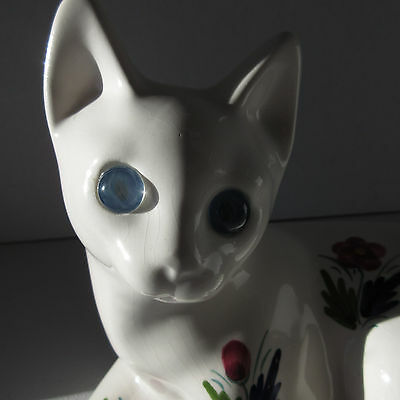 White Floral Hand Decorated Faience Majolica Cat Kitten Figurine Blue Glass Eyes