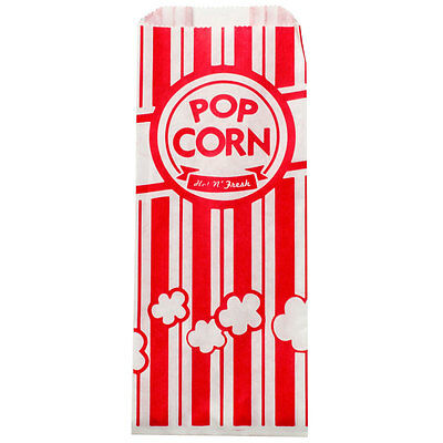 Carnival King Paper Popcorn Bags, 1 oz, Red & White, 200 Piece