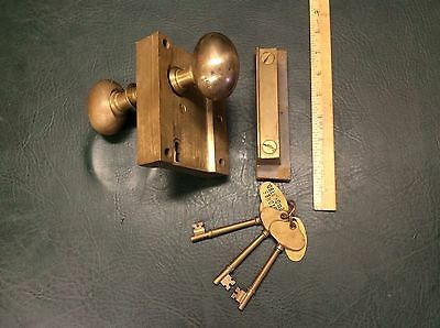 Norwalk Heavy Ship Door Hatch Lock Complete w/ Door Knobs & 3 Keys Maritime NOS