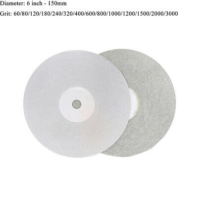 "6"" 150mm Diamond Coated Flat Lap Wheel Ceramic Glass Grinding Discs 60-3000 Grit"