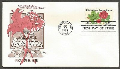 Us Fdc 1982 International Peace Garden 20C Marg Cachet First Day Of Issue Cover